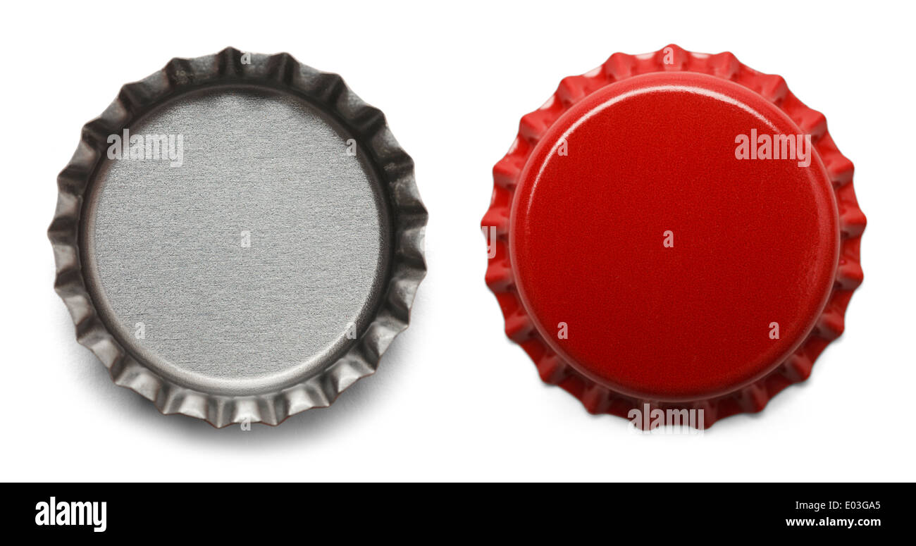 Red Bottle Caps Isolated on White Background. - Stock Image