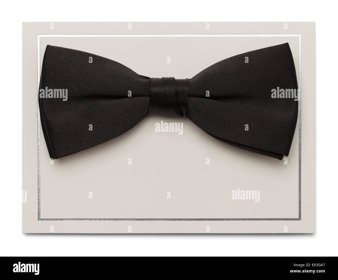 Blank Card with Bow Tie Isolated on White Background. - Stock Image