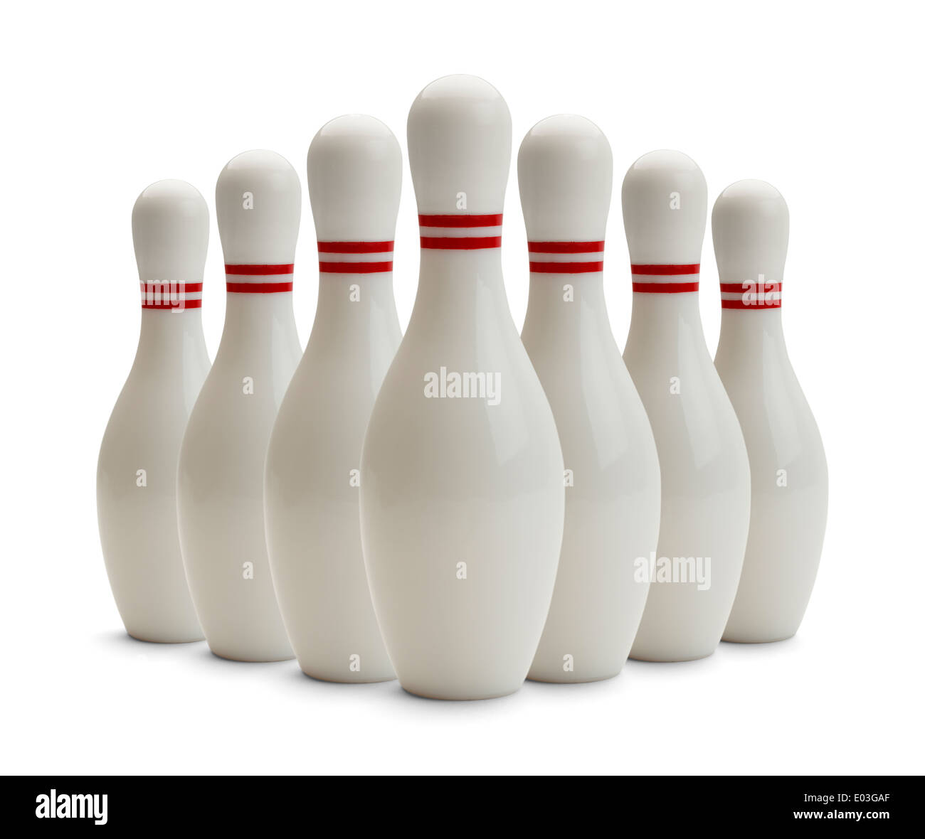 Group of Bowling Pins Isolated on White Background. - Stock Image