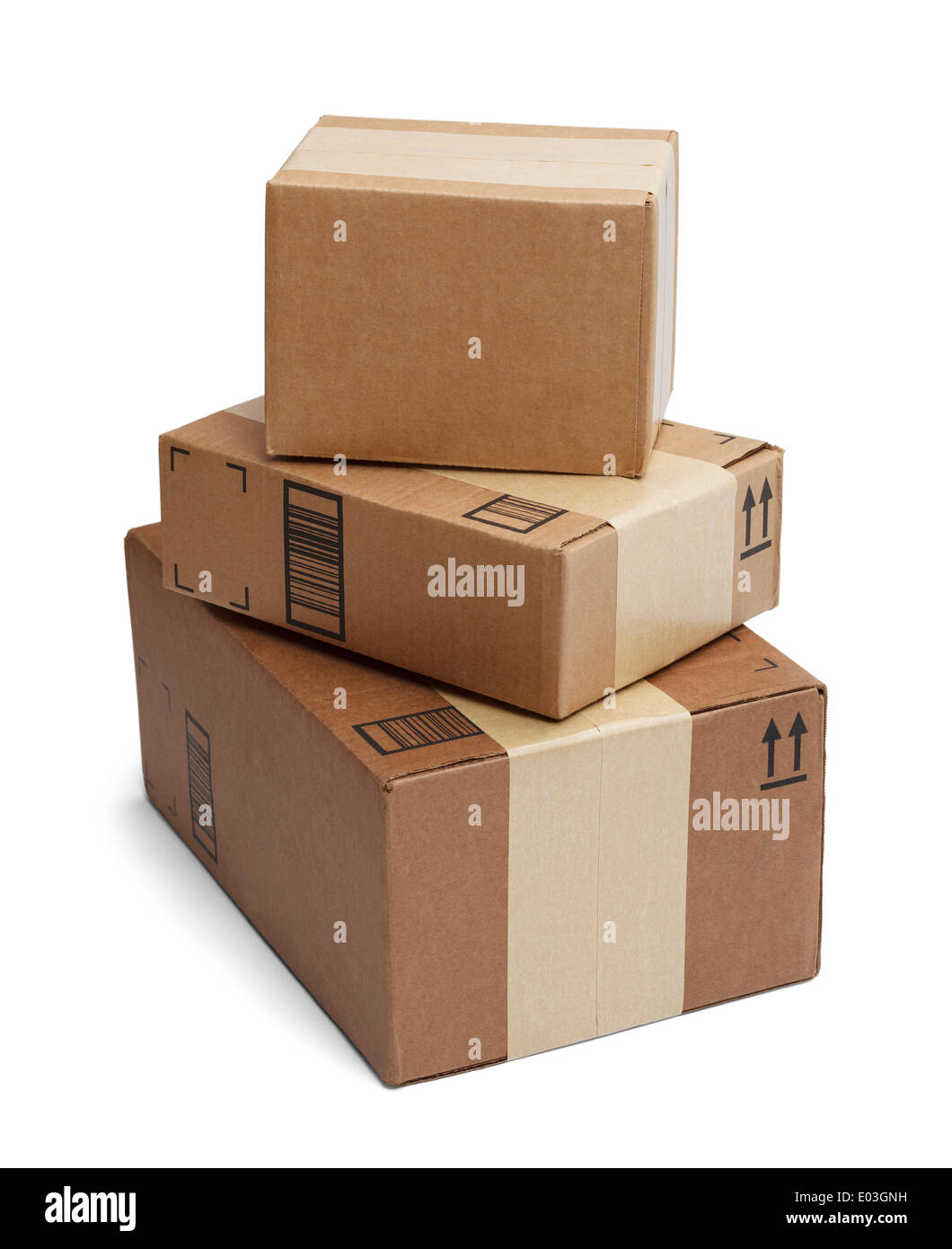Three Boxes Stacked Tall Isolated on White Background. - Stock Image
