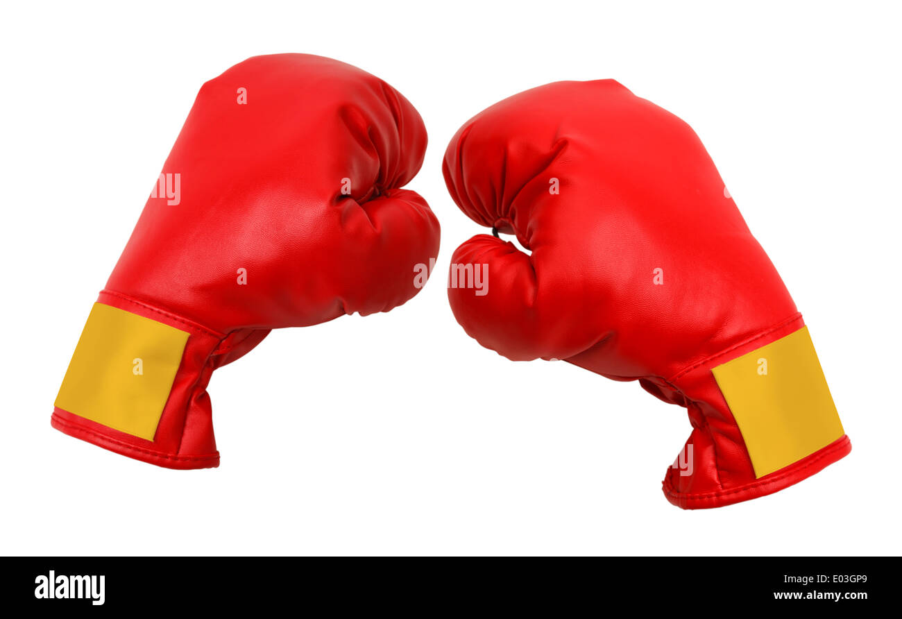 Red Boxing Gloves Isolated on White Background. - Stock Image