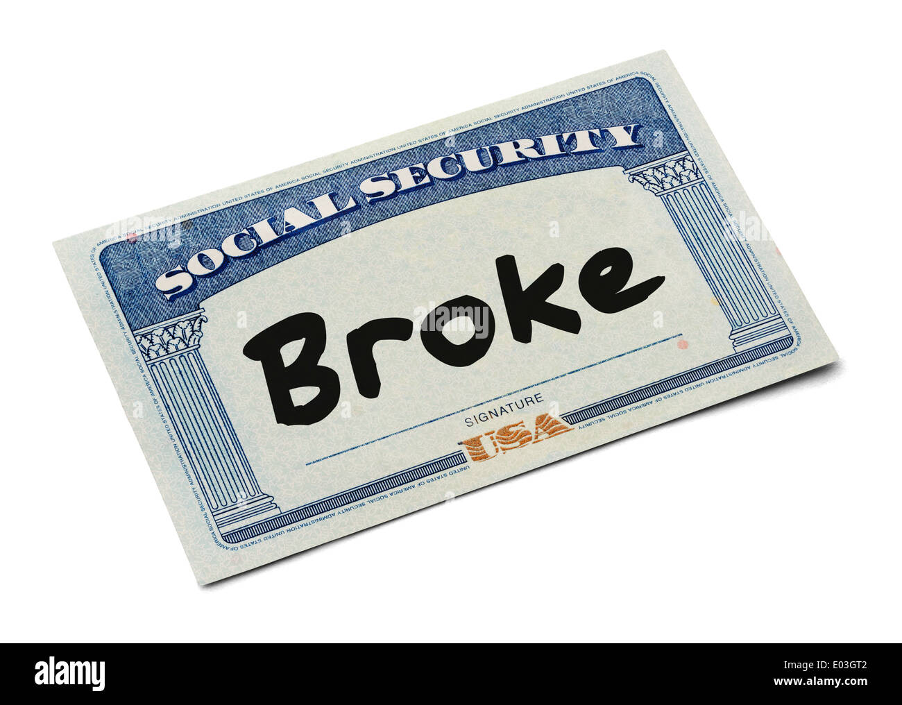 Social Security Card WIth the Word Broke Isolated on White Background. - Stock Image