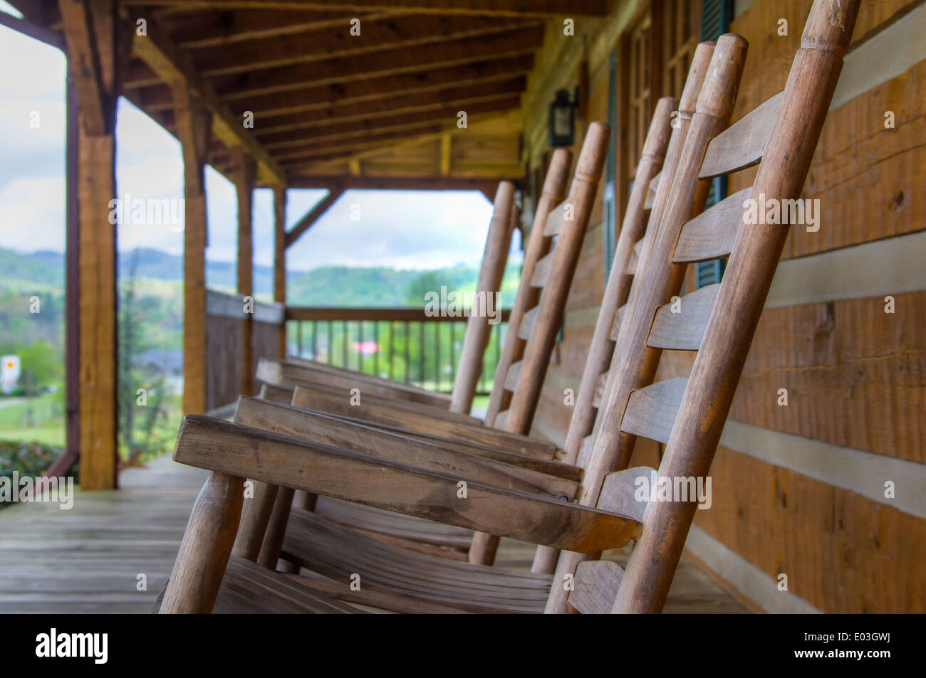 Rocking Chairs in the Great Smoky Mountains National Park - Stock Image