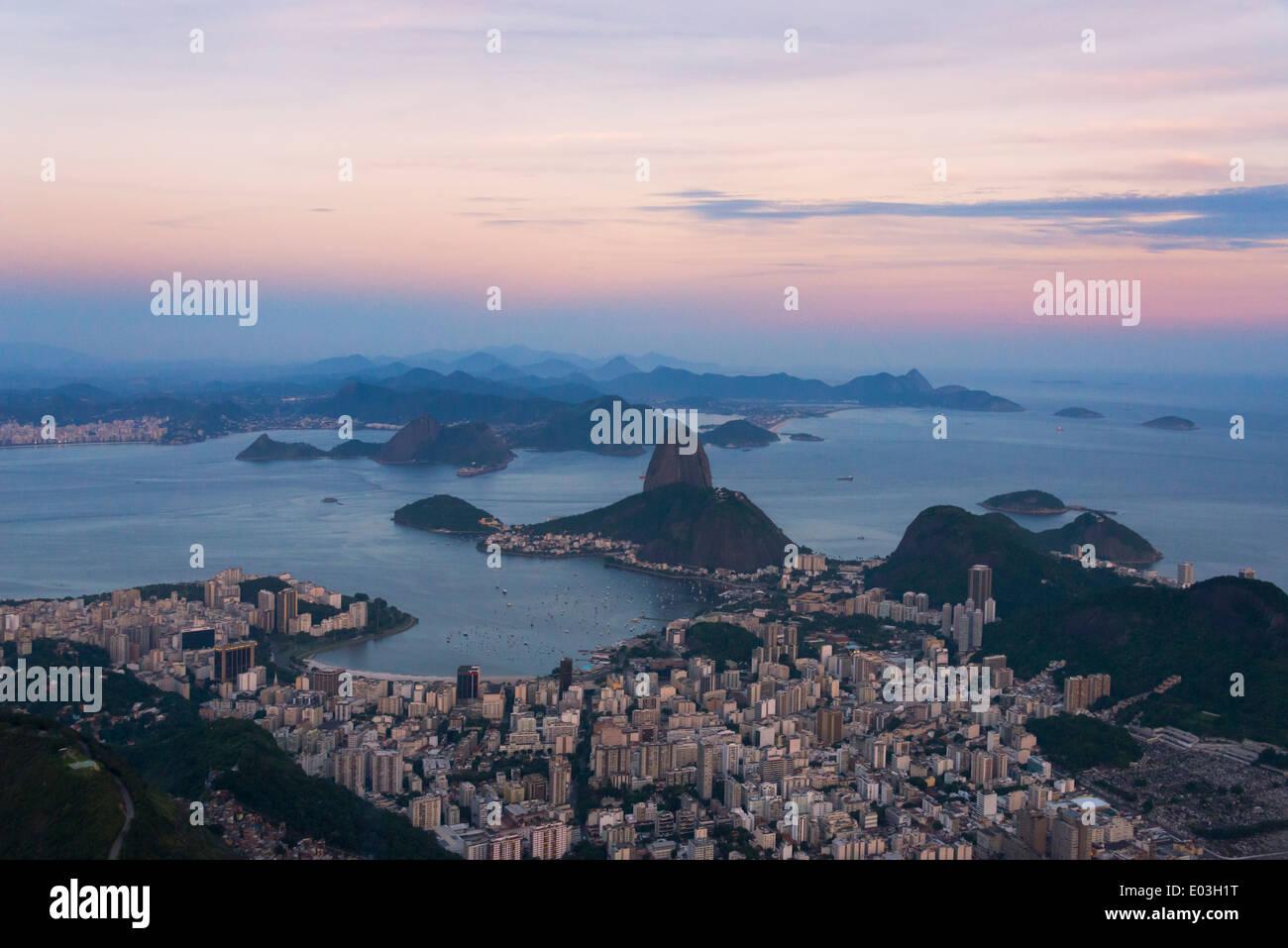 Sugarloaf Mountain and cityscape in Botafogo Bay, Rio de Janeiro, Brazil - Stock Image