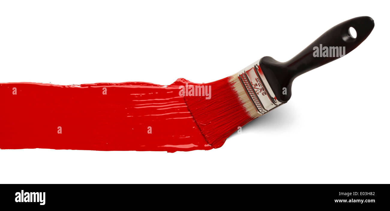 Paint Brush Stroke Across Page Isolated on White Background. - Stock Image