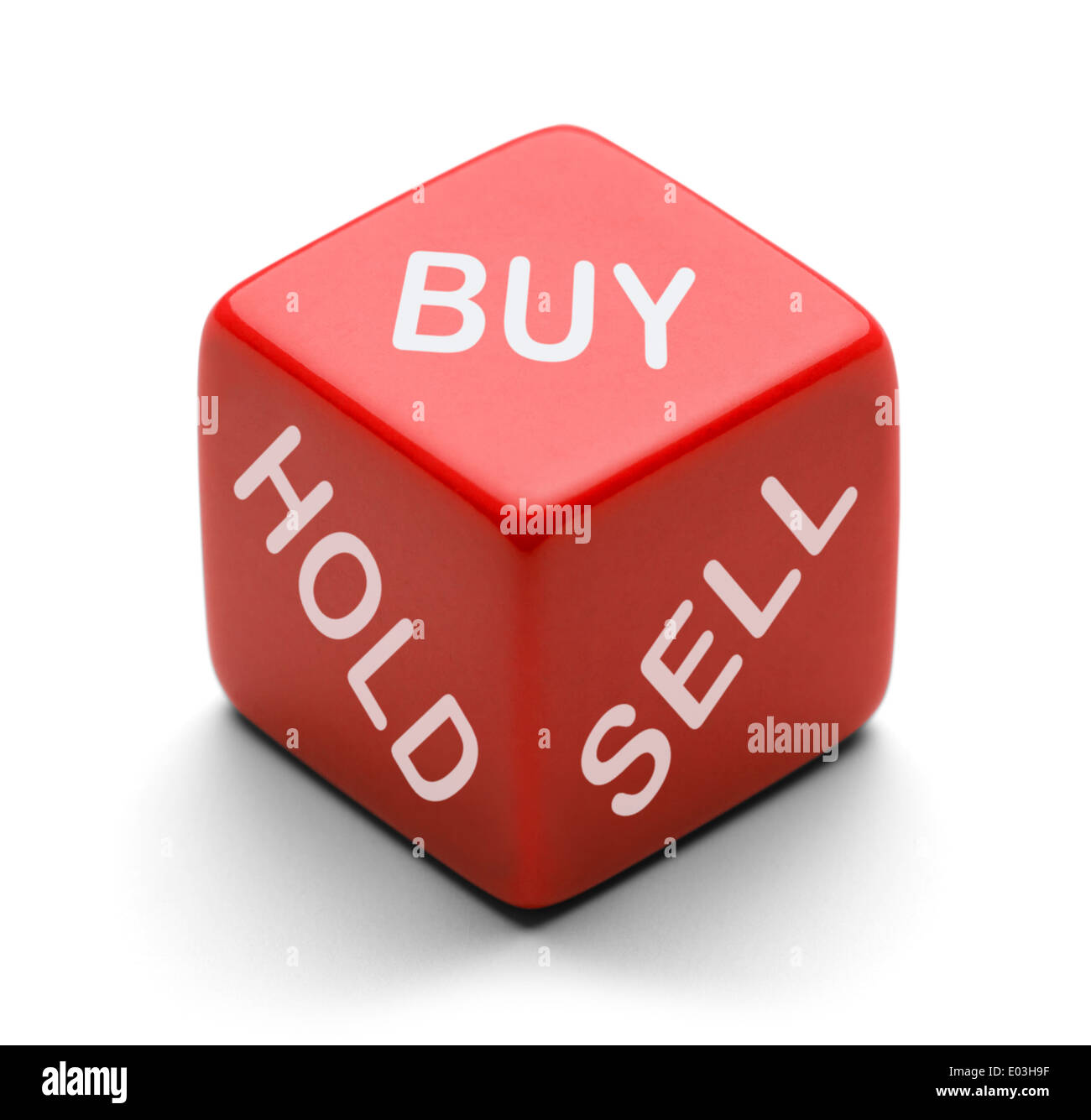 Red Dice with Buy Hold and Sell on it Isolated on White Background. For Stock Broker Decision Making. - Stock Image
