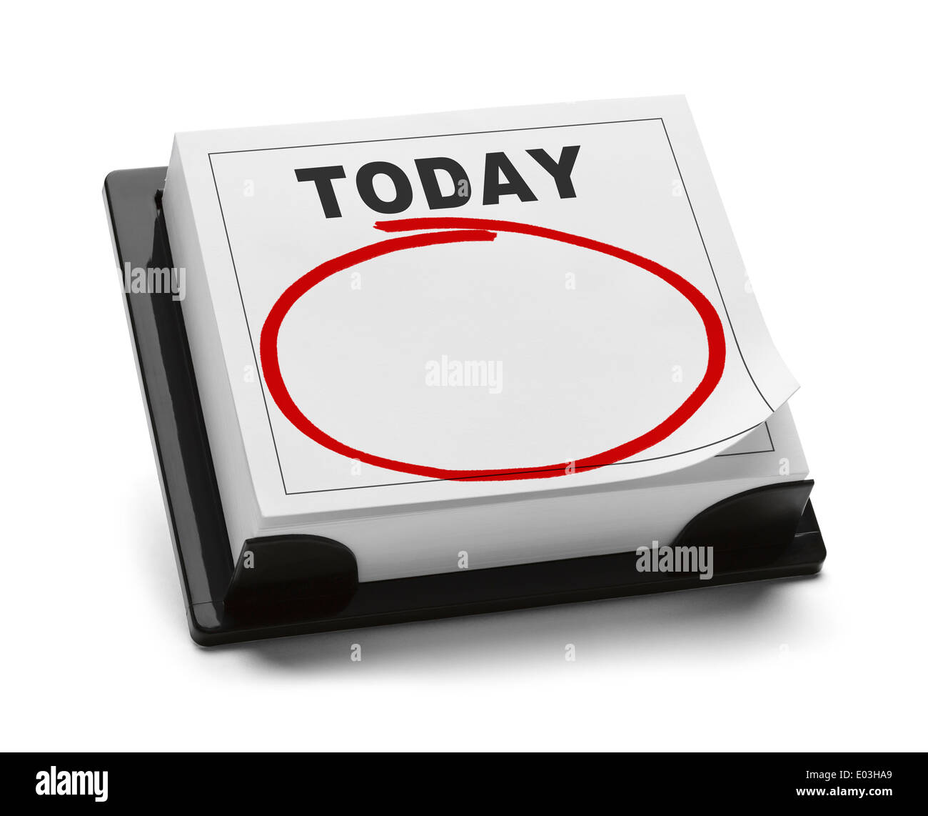 Blank Calendar with Word Today and Red Marker Circle With Copy Space Isolated on White Background. - Stock Image