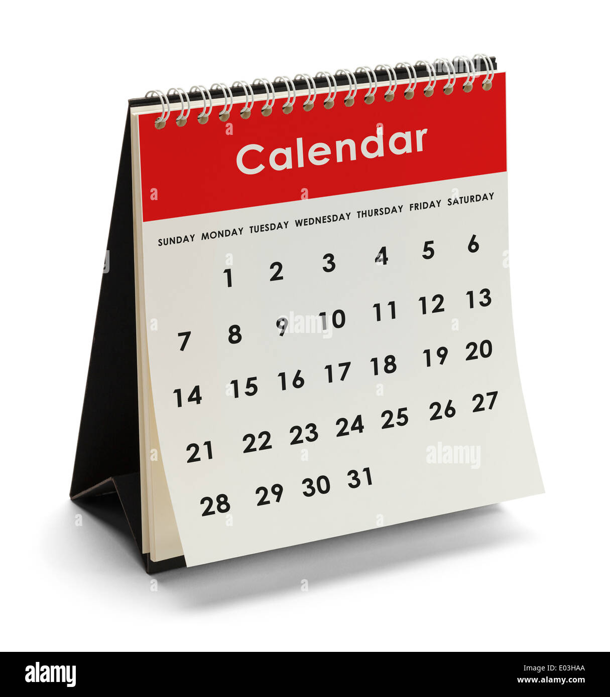 Generic Calendar With Days and Dates Isolated on White Background. - Stock Image
