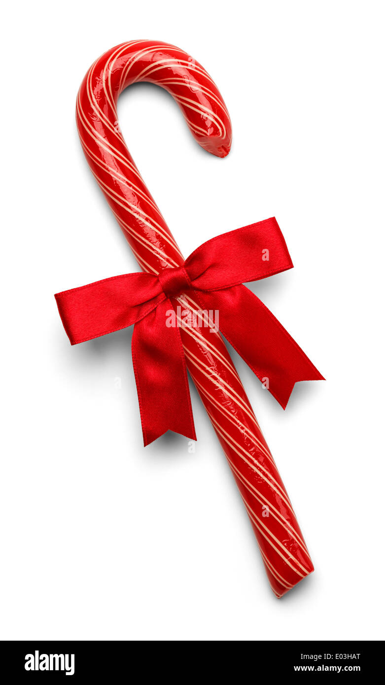 Red Candy Cane With Thin White Stripes and Red Bow Isolated on White Background. - Stock Image