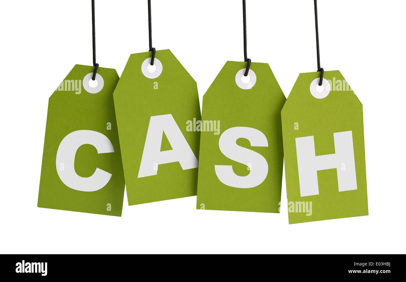 Four Green Tags with the Word Cash Isolated on White Background. - Stock Image