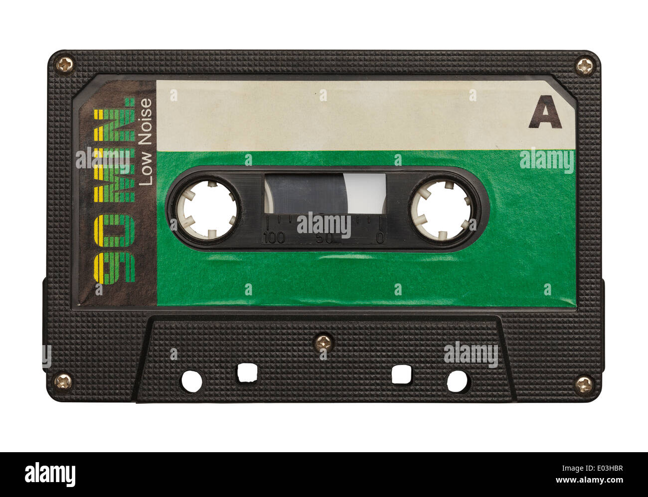 Blank Retro Music Tape Isolated on White Background. - Stock Image