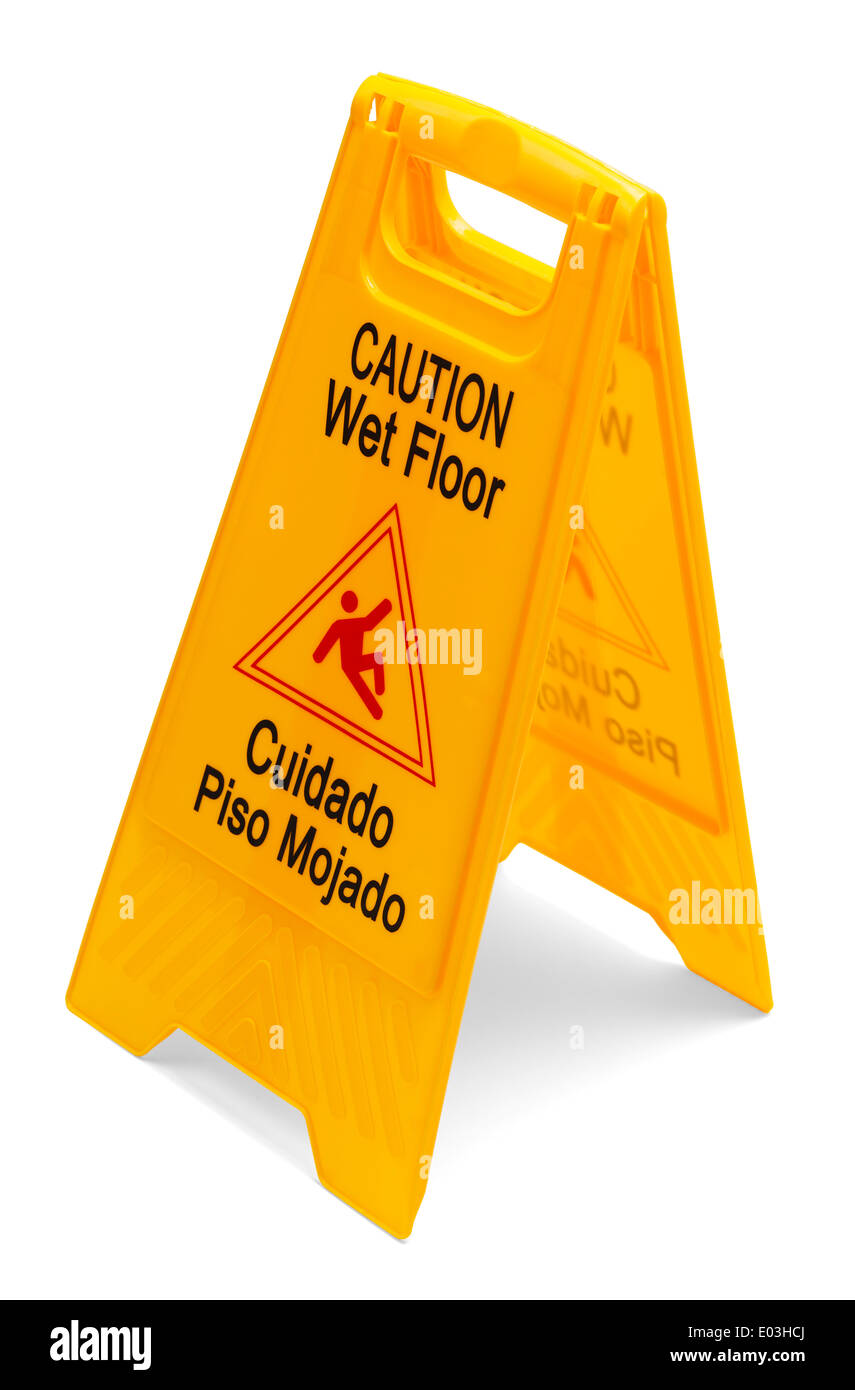 Yellow Plastic Caution Wet Floor Sign isolated on a white background. - Stock Image