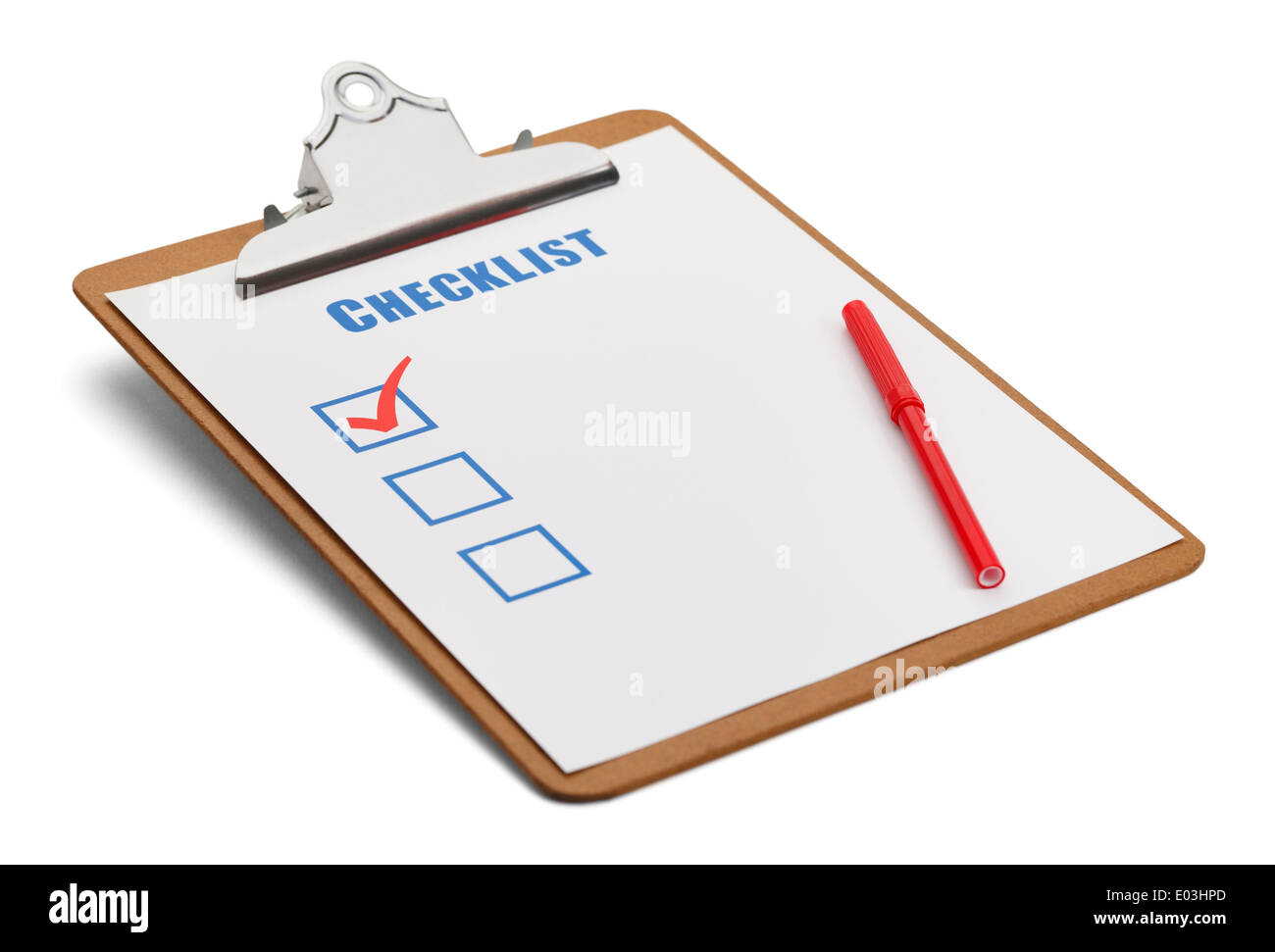 Classic Clipboard with Checklist and Red Pen Isolated on White Background. - Stock Image