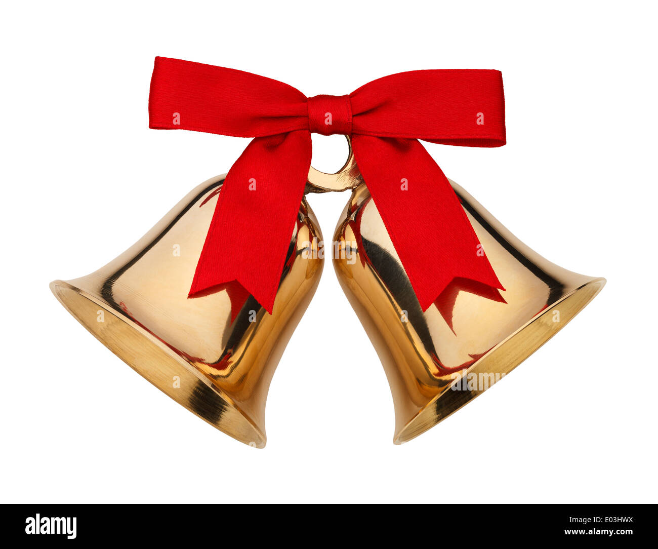 Gold Bells With Red Ribbon Bow Isolated on White Background. - Stock Image