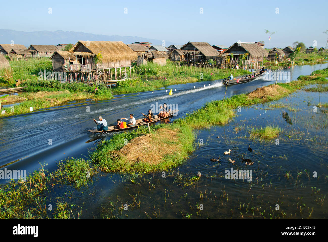 A water village over the Inle Lake. - Stock Image