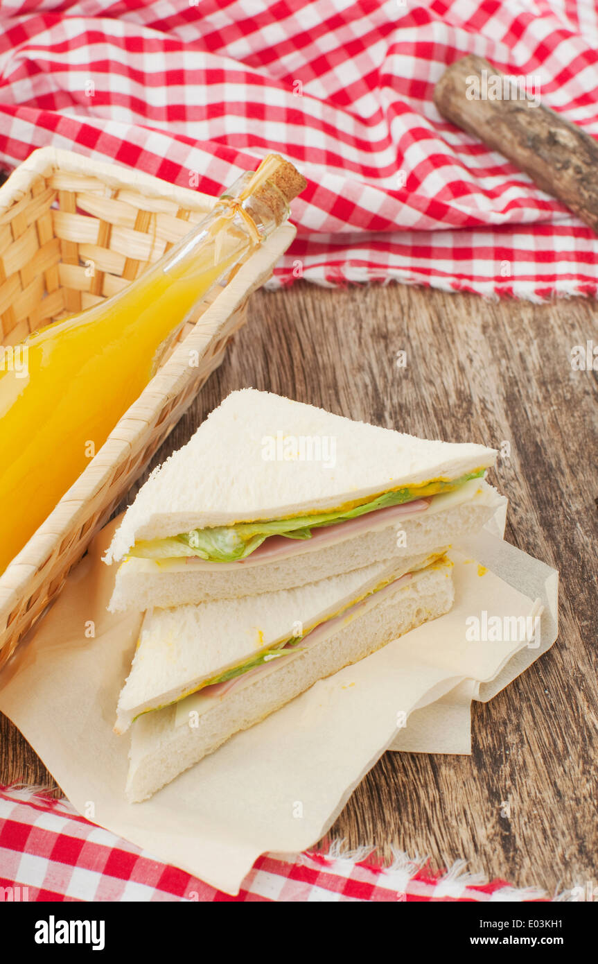 sandwiches and orange juice for picnic - Stock Image