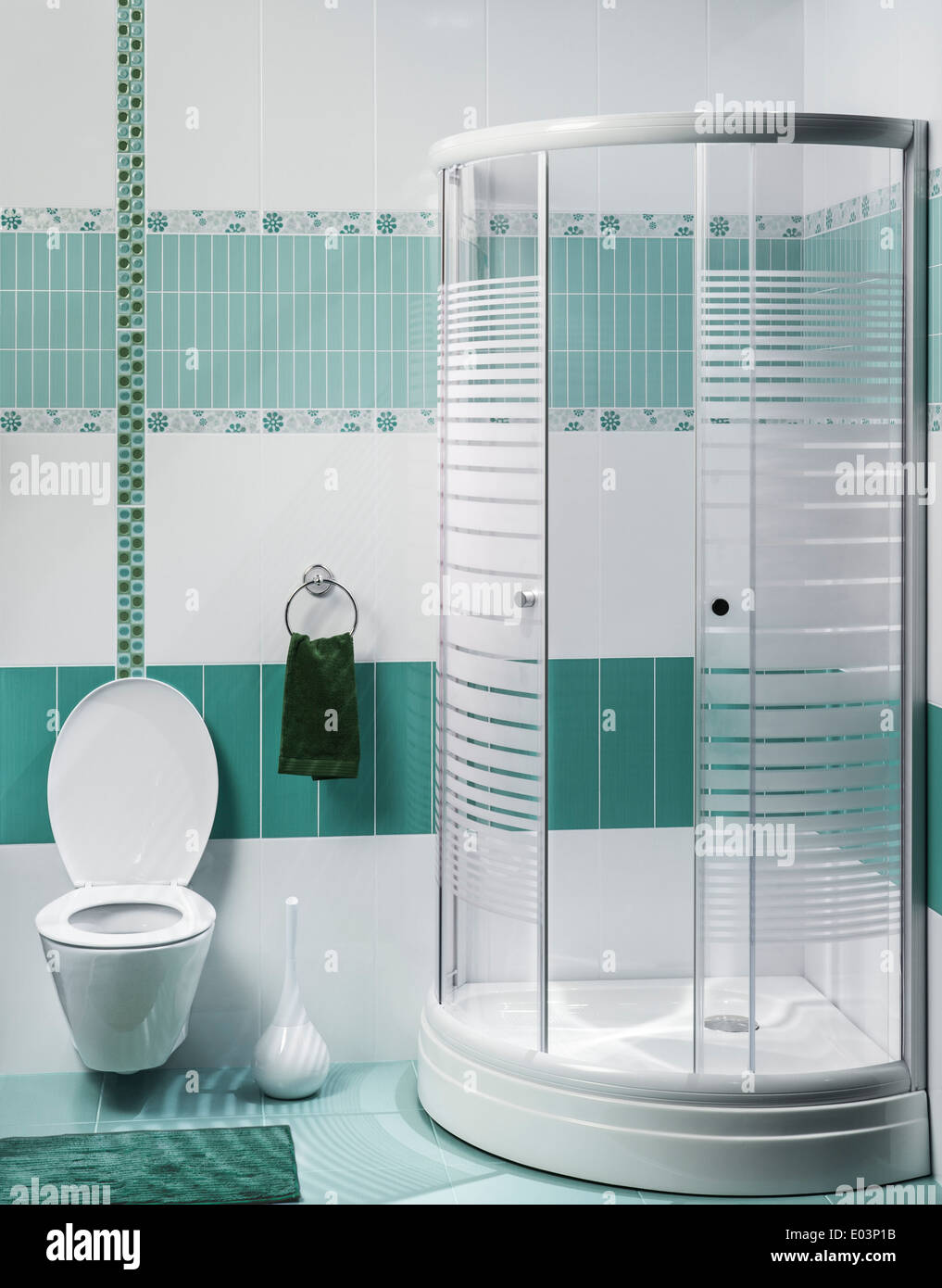 detail of a modern bathroom interior with luxury shower, green and ...