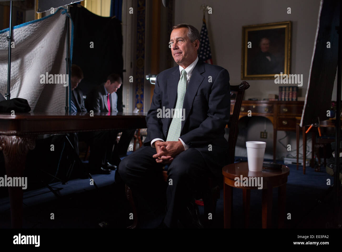 US Speaker of the House John Boehner tapes an interview for PBS's FRONTLINE in the Board of Education room at the Capitol January 23, 2013 in Washington, DC. - Stock Image