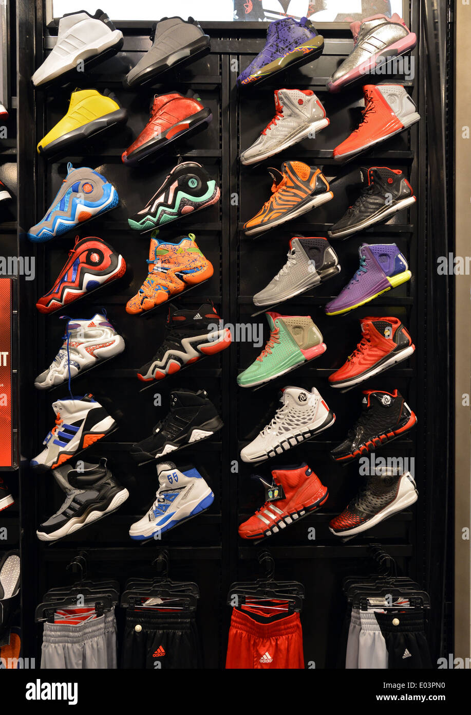 ab3d4a2812 Colorful men s athletic shoes for sale at a Foot Locker store at Roosevelt  Field in Long