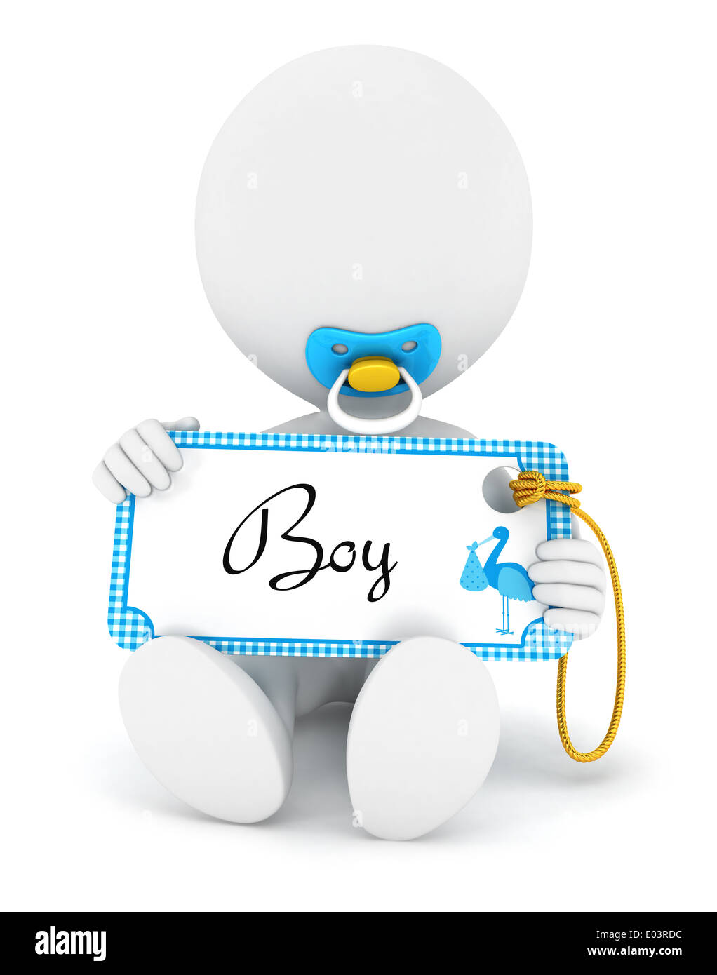 3d white people baby boy holding an name tag, isolated white background, 3d image Stock Photo