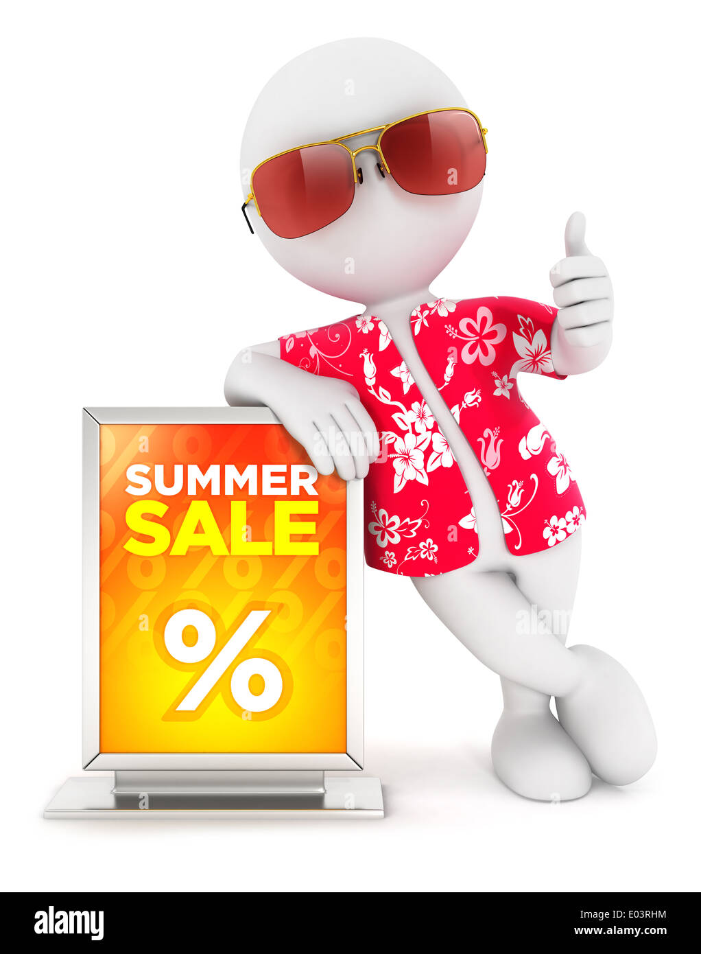 3d white people summer sale, isolated white background, 3d image Stock Photo