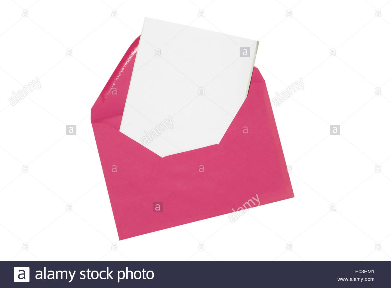 Invitation card cut out stock photos invitation card cut out stock pink envelope with a plain card pulled out on white background stock image stopboris Images
