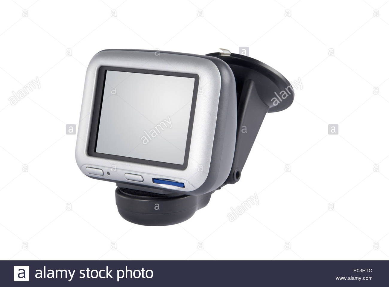 Satellite navigation unit isolated on white with path. Blank screen with path. - Stock Image