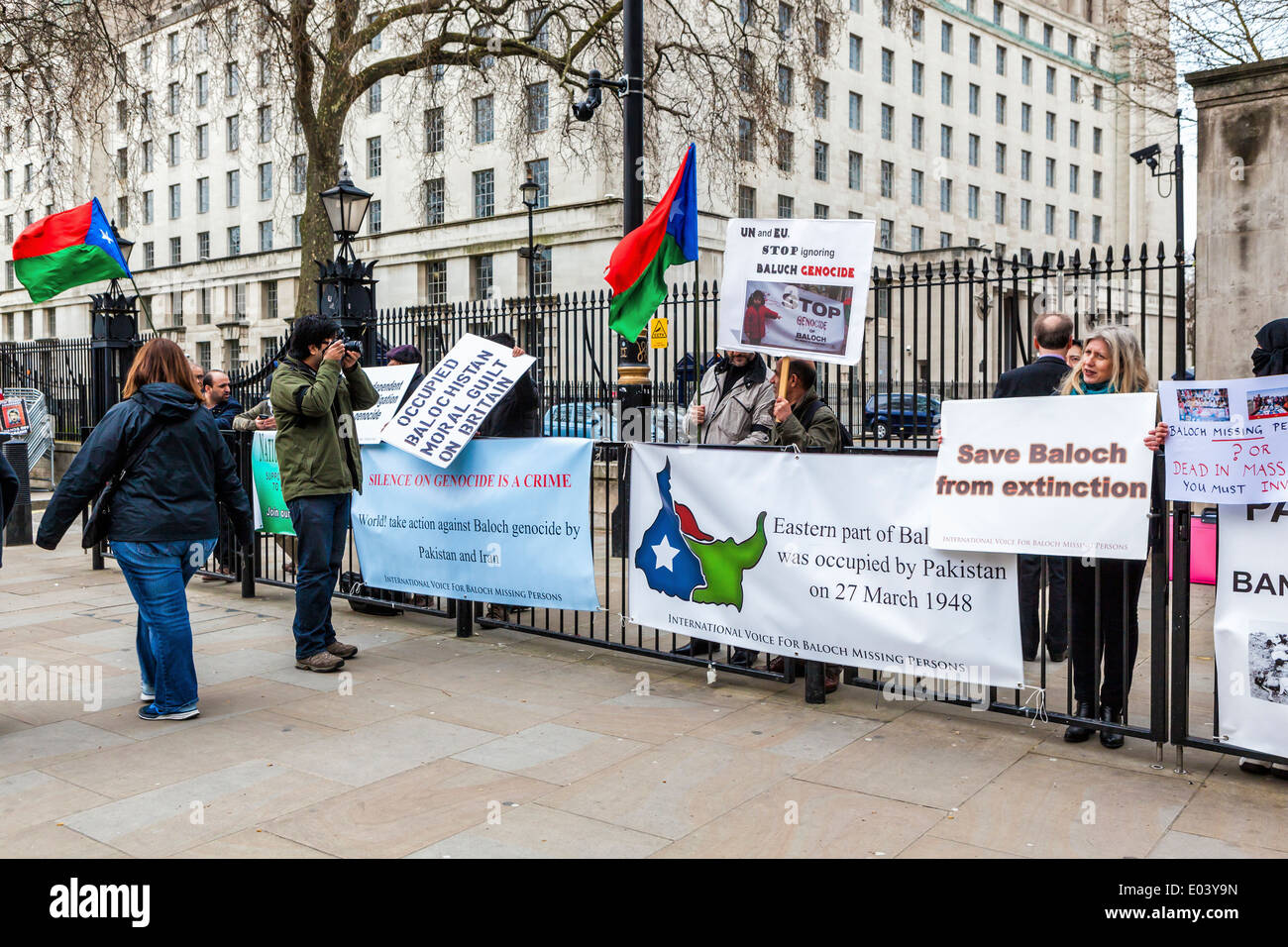 Balochistan Black Day: Baloch Nationalists protest the forceful occupation of Balochistan by Pakistan at Downing street, London - Stock Image