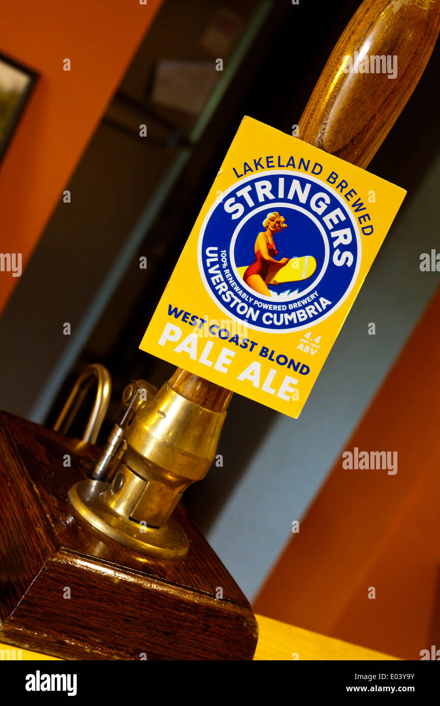 Hand pump selling Stringers West Coast Blond Pale Ale a real ale brewed in Ulverston in the Lake District Cumbria England UK - Stock Image