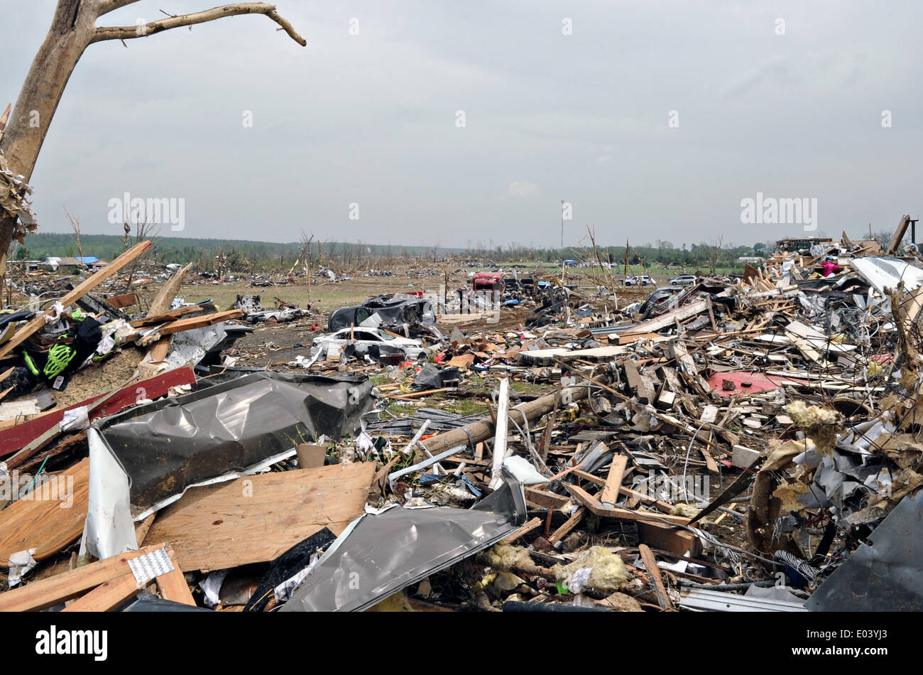 Aftermath of a massive tornado that swept swept across the southern states killing 35 people April 28, 2014 in Vilonia, Arkansas. - Stock Image
