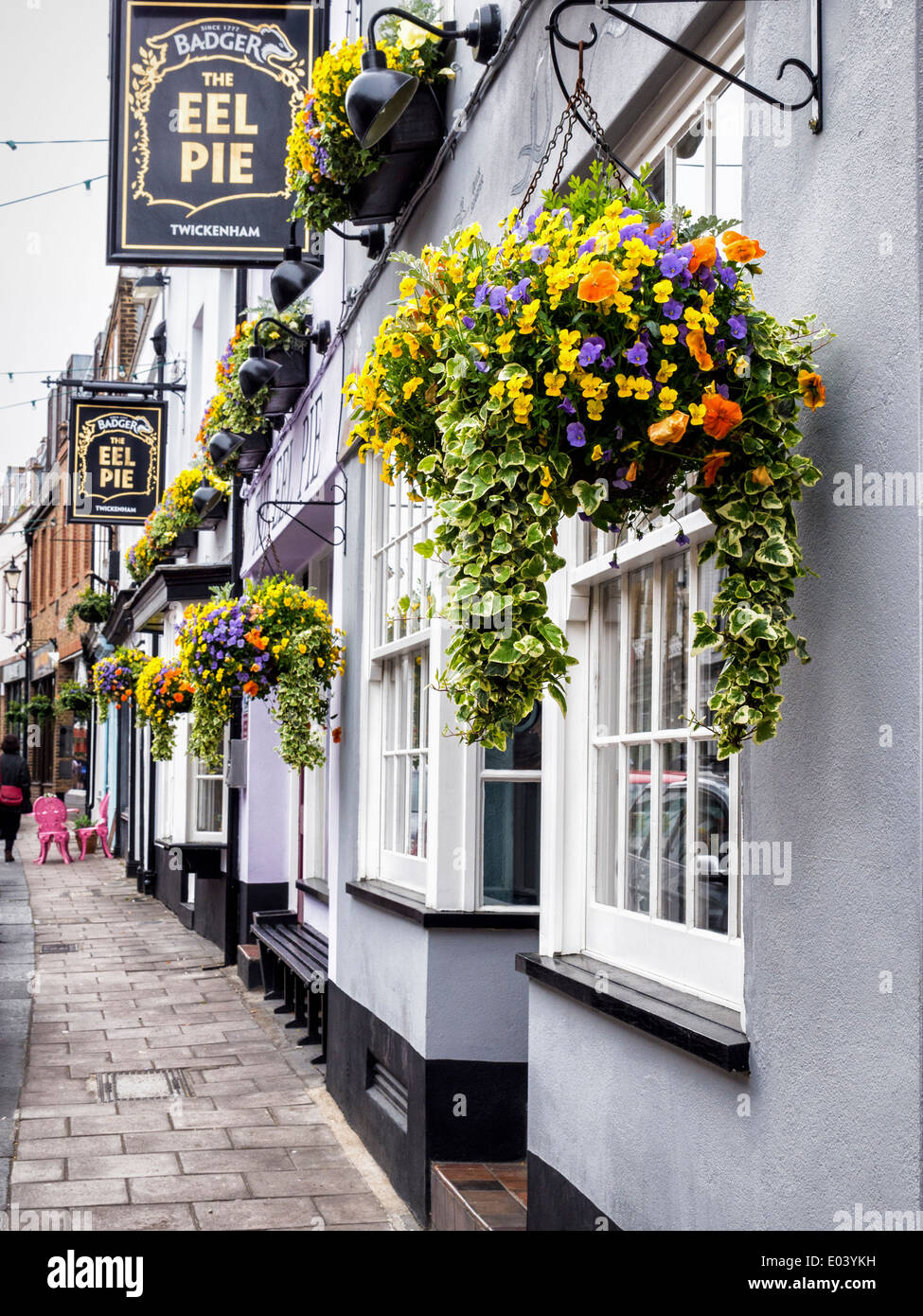 The Eel Pie pub exterior, sign and colourful flower baskets, Church Street, Twickenham, Greater London, UK - Stock Image
