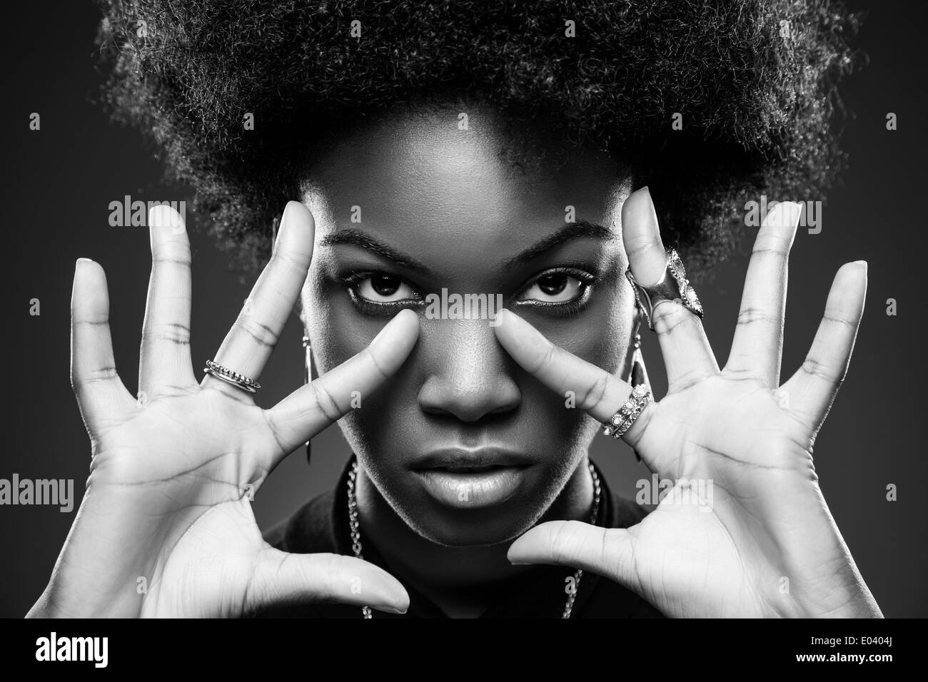 Black beauty in black and white - Stock Image