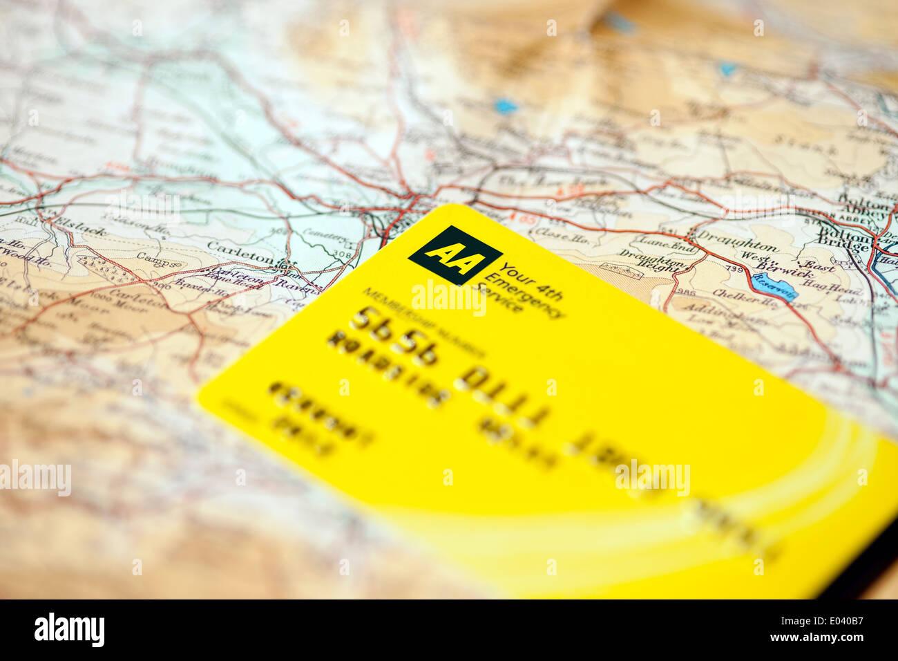 aa membership card on road map england uk united kingdom gb great britain