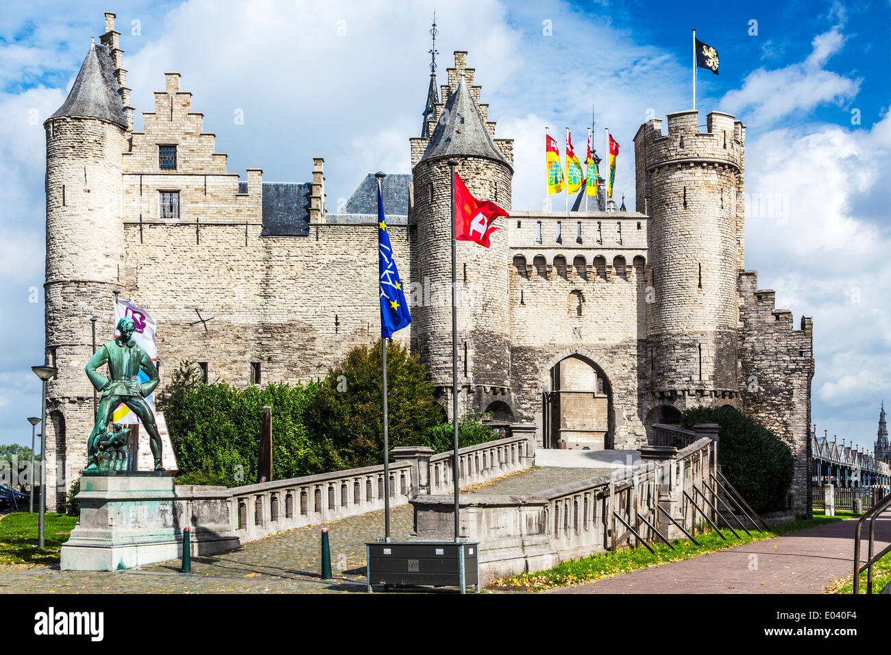 The Het Steen or Stone Castle, a medieval fortress on the banks of the River Scheldt in Antwerp, Belgium. - Stock Image