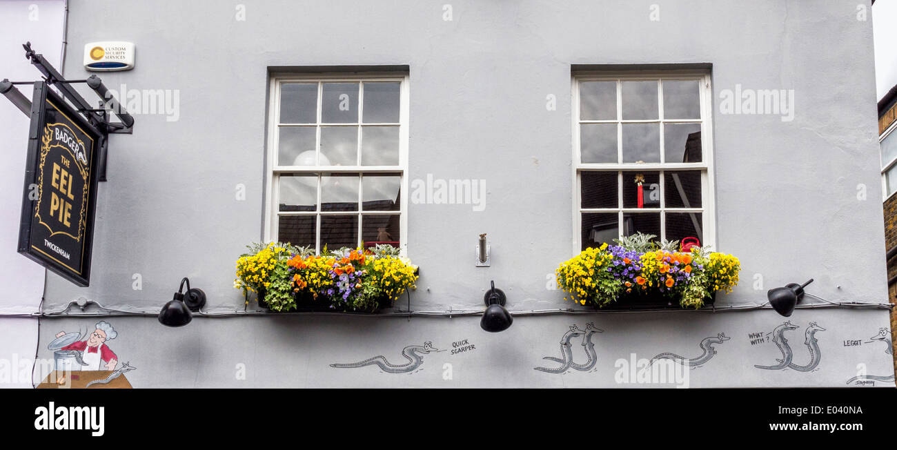 The Eel Pie pub exterior - sign, colourful flowers in window boxes and cartoon,   Church Street, Twickenham, Greater London, UK - Stock Image