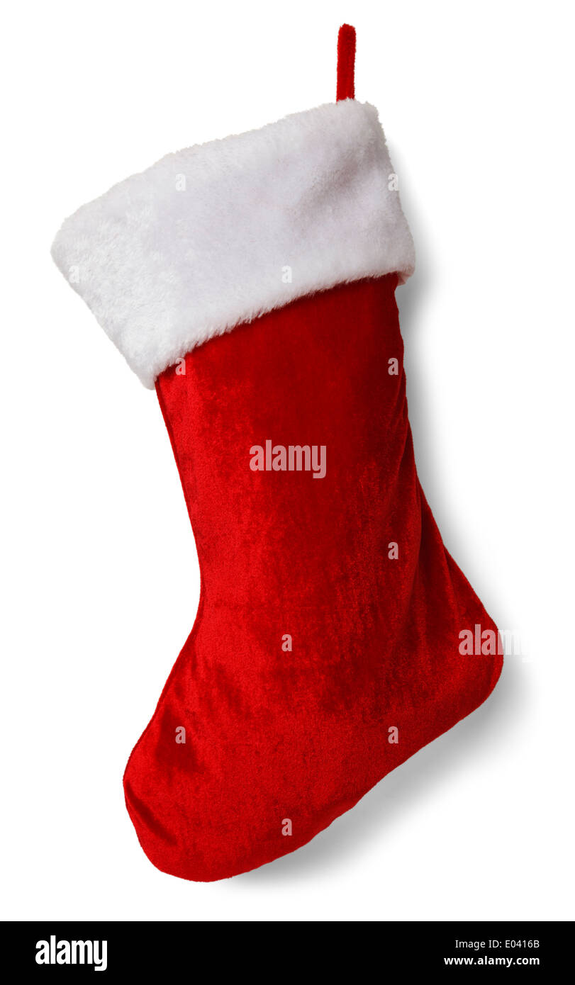 Red and White Empty Stocking Isolated on White Background. - Stock Image