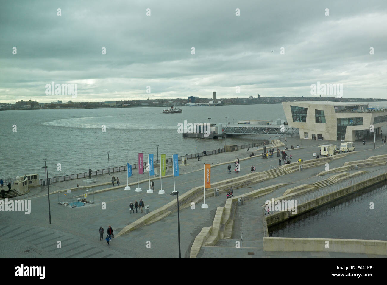 The Mersey Ferry leaves the Pier Head Terminal in Liverpool - Stock Image