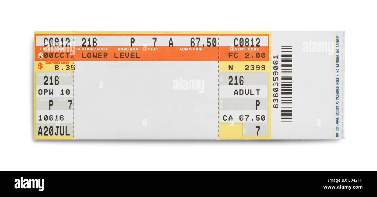 Concert Event Ticket Isolated on White Background. - Stock Image