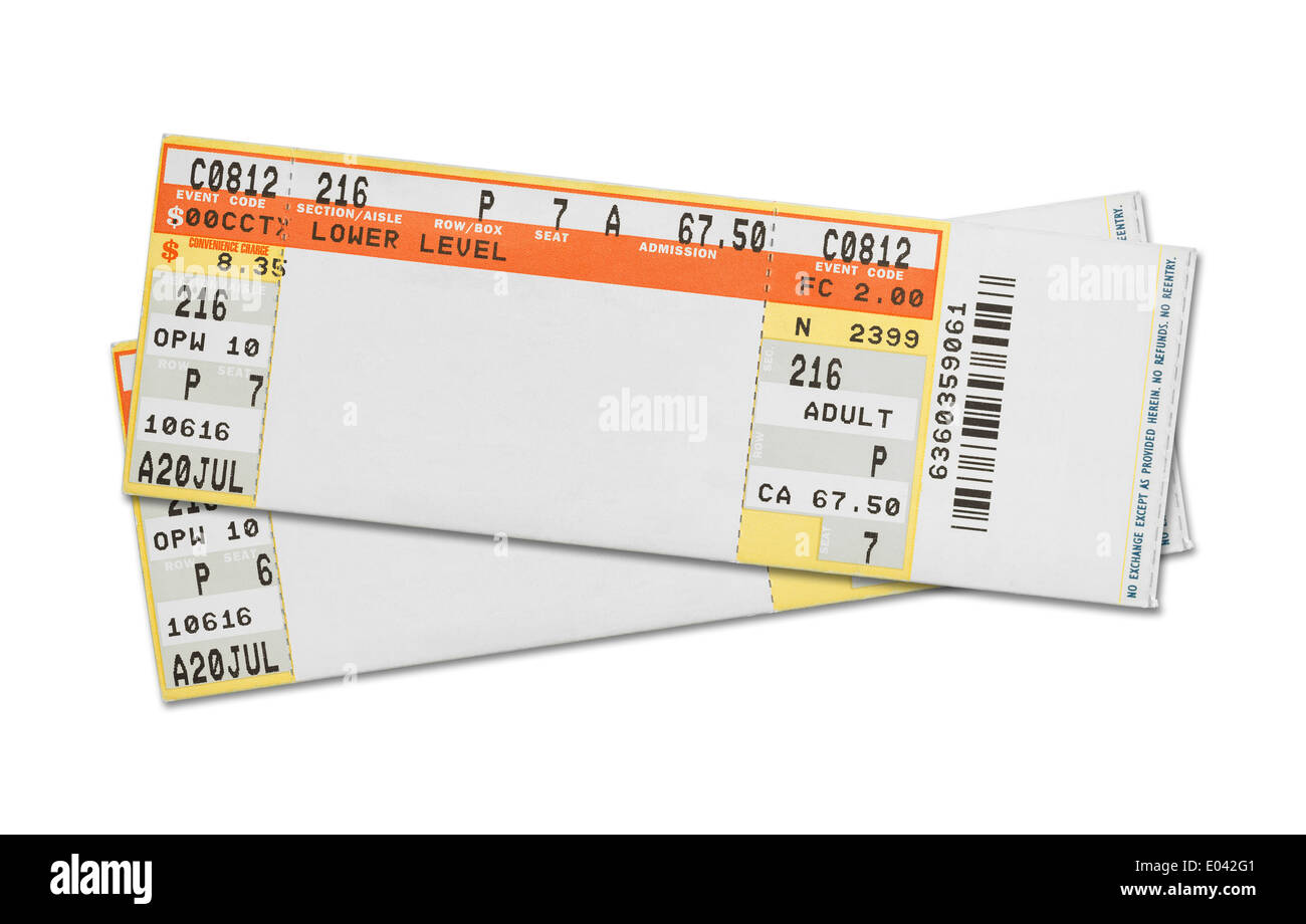 Pair of Blank Concert Tickets Isolated on White Background. - Stock Image