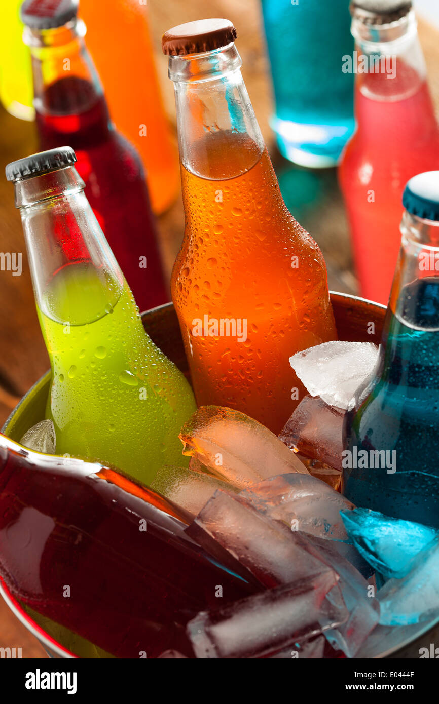 Assorted Organic Craft Sodas with Cane Sugar - Stock Image