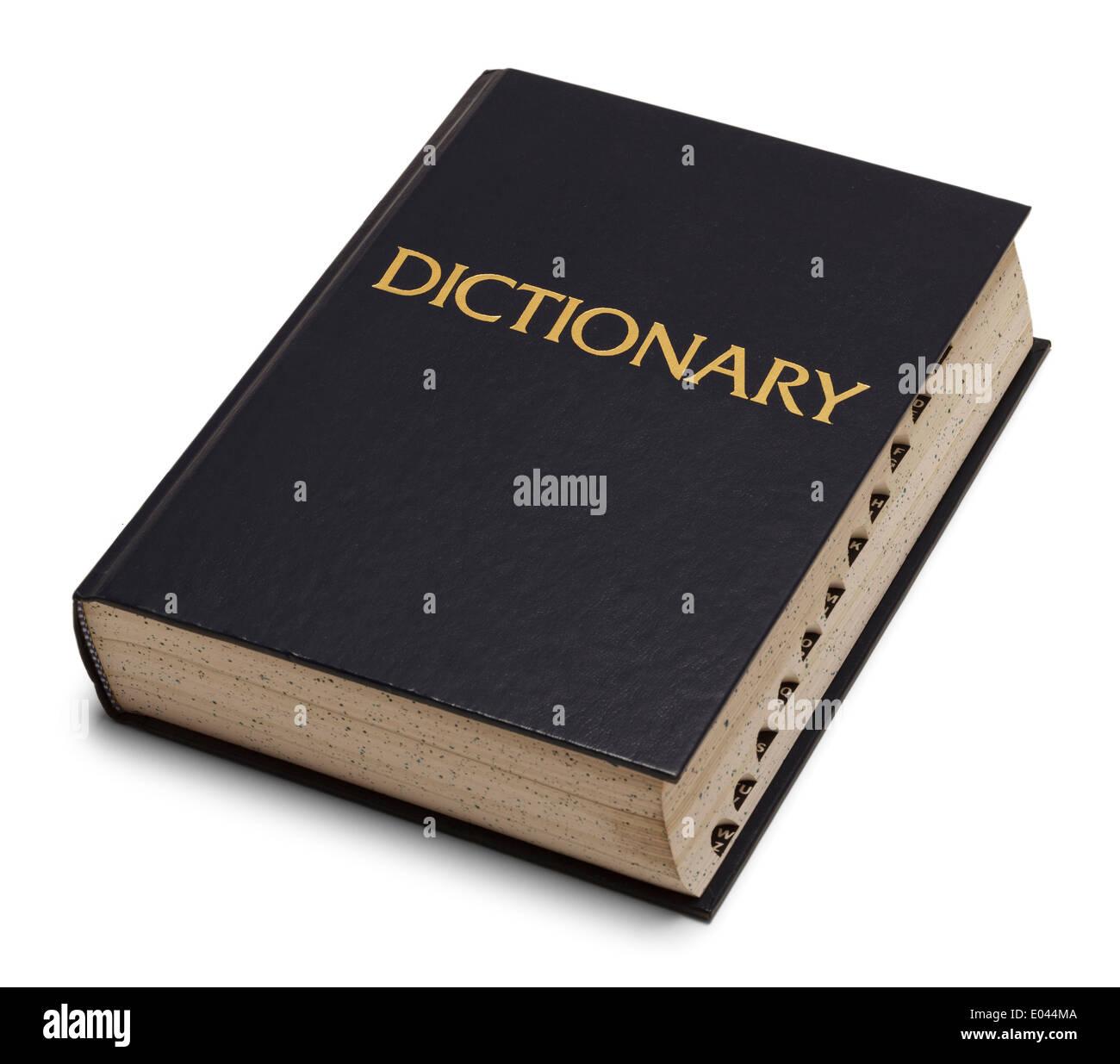 Large Blue English Dictionary Isolated on White Background. - Stock Image