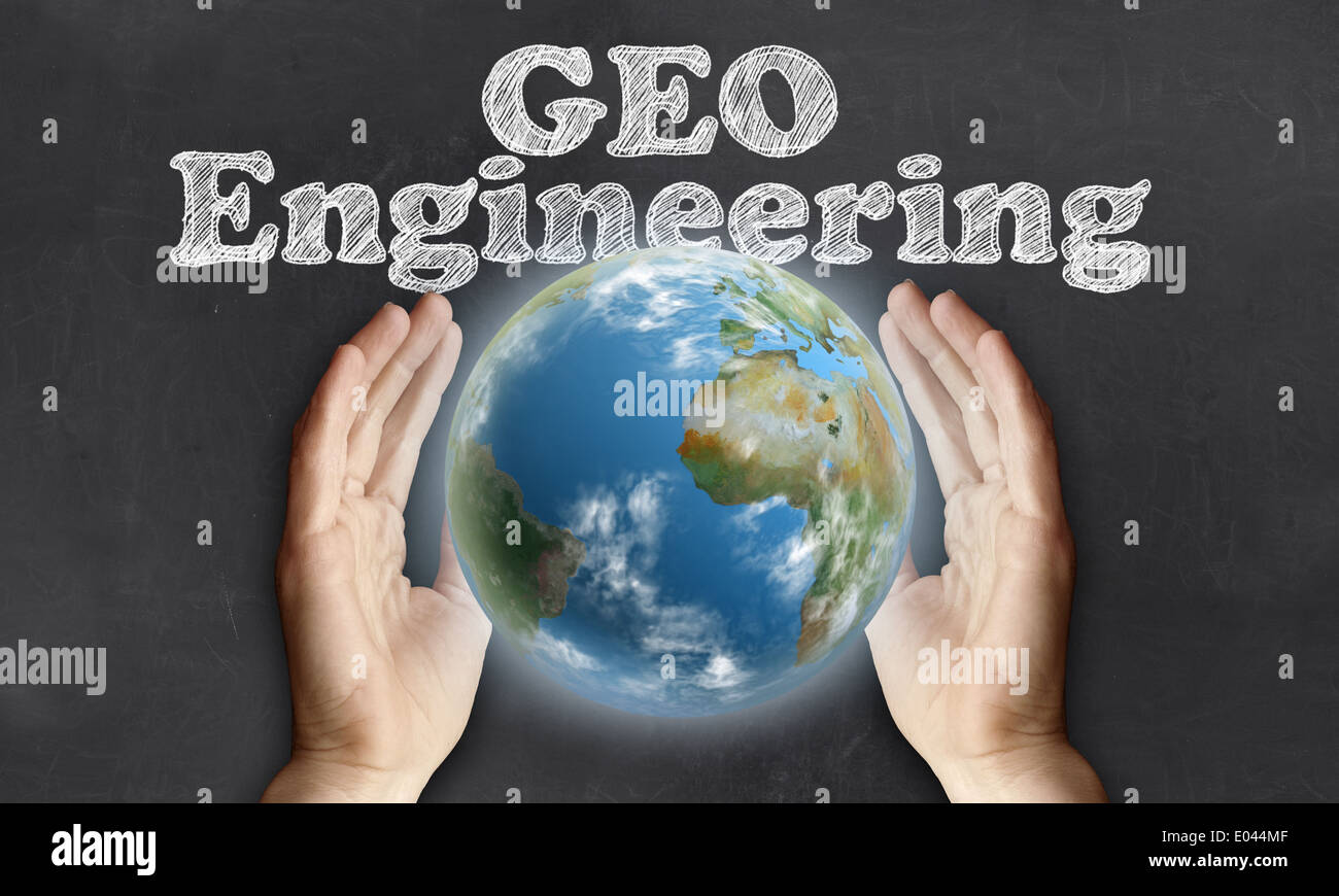 Caring for the Earth with Geo Engineering on Blackboard Stock Photo
