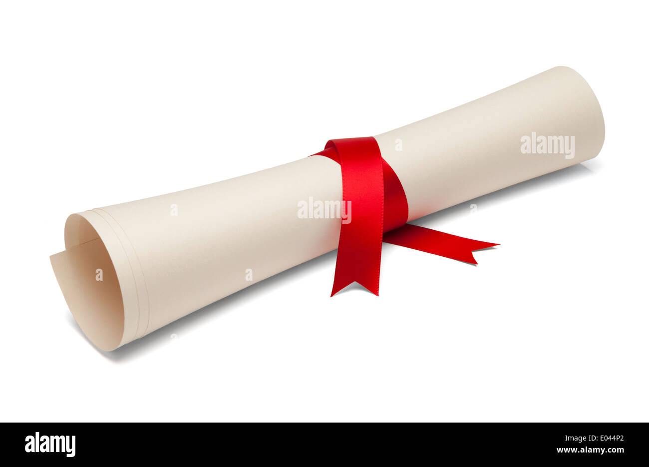 Diploma tied with red ribbon on a white isolated background. - Stock Image