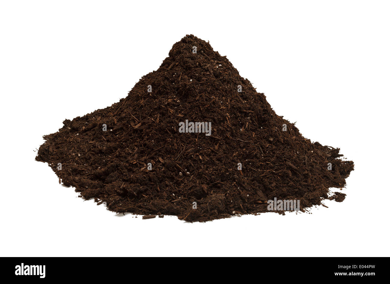 Brown Soil in a Dirt Mound Isolated on White Background. - Stock Image