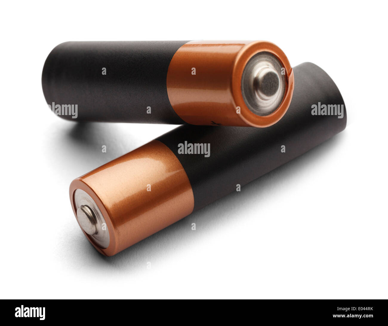 Blank AA Batteries Stacked on Each Other with Copy Space Isolated on White Background. - Stock Image