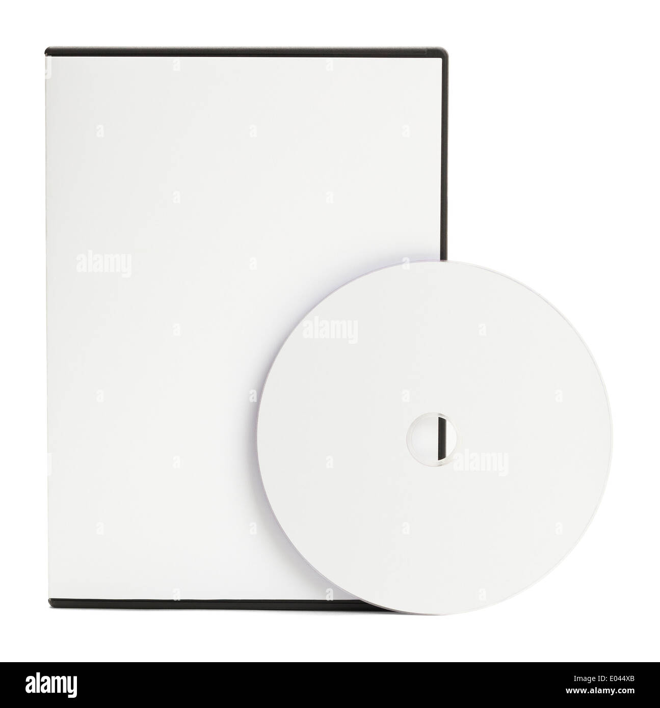 Blank White DVD Case with Blank Disc Isolated on White Background. - Stock Image