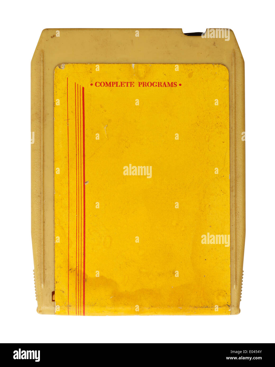 Yellow Retro Seventies Music Cassette Isolated on White Background. - Stock Image