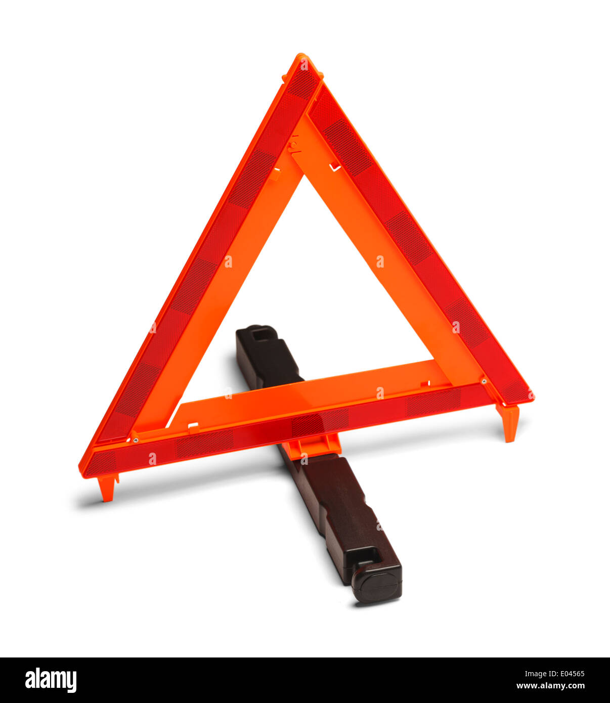 Triangle Reflector Hazard Sign. Isolated on White Background. - Stock Image