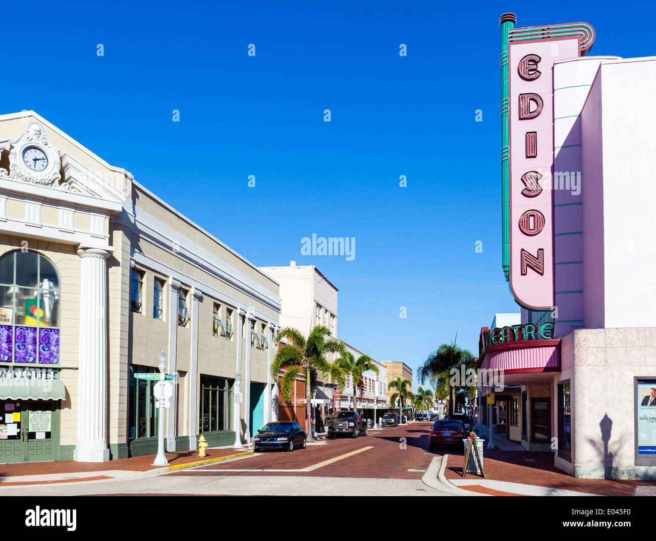 View down Hendry Street at Main St intersection, with the Edison Theater on right, historic downtown Fort Myers, Florida, USA - Stock Image