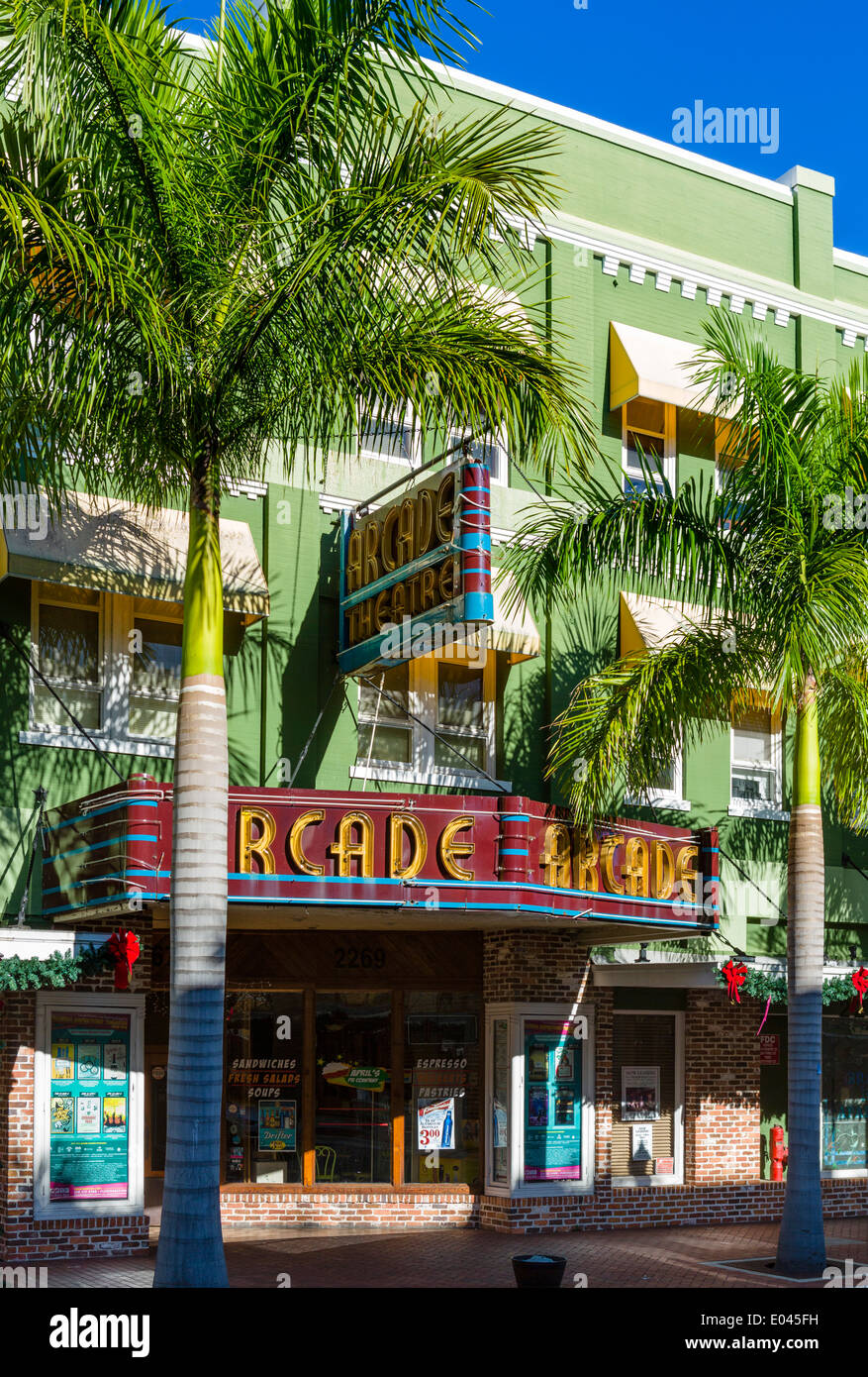 Historic Arcade Theater on First Street in downtown Fort Myers, Florida, USA - Stock Image